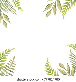 Beautiful abstract fresh green leaves painted with watercolor make up decorative frame with white background