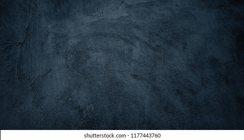 Beautiful Abstract Grunge Decorative Black Wall Background. Art Rough Dark Texture Web Banner With Space For Text. Textured background with bright center spotlight