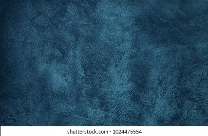 Beautiful Abstract Grunge Decorative Navy Blue Dark Stucco Wall Background. Art Rough Stylized Texture Banner or wallpaper With Copy Space For Text