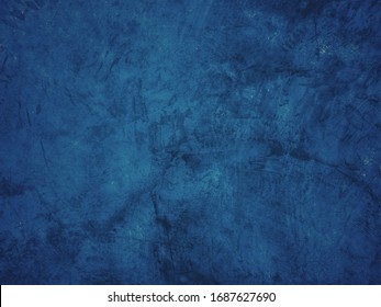 Beautiful Abstract Grunge Decorative Navy Blue Dark Stucco Wall Background. Art Rough Stylized Texture Banner With Space For Text,cement background