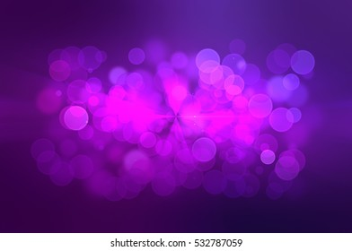 Beautiful Abstract multicolored bokeh circles background with particles. Vibrant de-focused illustration with rays.