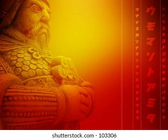 Beautiful abstract red background with ancient warrior holding sword