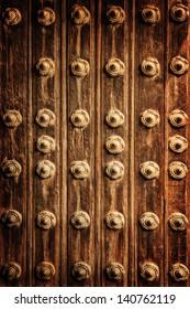 Beautiful abstract wooden background, arabic architecture, grunge rusted door, medieval doorway, textured wallpaper