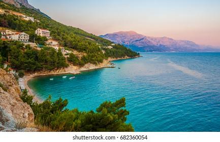 Beautiful Adriatic Beach and Mimice Village in Dalmatia, Croatia