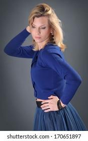 beautiful adult woman posing in studio