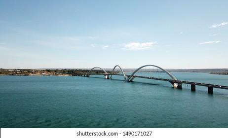A beautiful aeria view of JK Bridge in Brasilia, Brazil