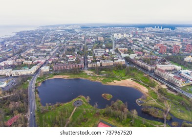 Beautiful aerial air summer vibrant view of Petrozavodsk, Russia, the administrative center of Republic of Karelia, with Onega Lake shot from quadrocopter drone