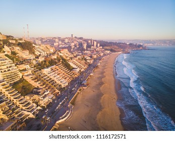 Beautiful aerial cityscape of a famous beach at Viña del Mar, Chile