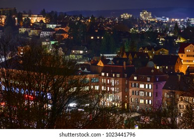 beautiful aerial cityscape at night in old german town Backnang