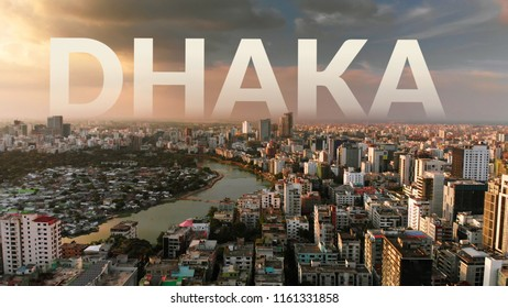 Beautiful aerial drone shot of evening over Dhaka, Bangladesh which is densely populated. Great for backdrops