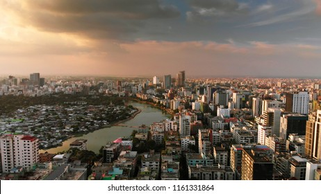 Beautiful aerial drone shot of evening over Dhaka, Bangladesh which is densely populated.