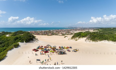 Beautiful aerial image of dunes in the Natal city, Rio Grande do Norte, Brazil.
