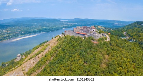 Beautiful aerial image of the medieval Castle of Visegrad with the river Danube, at Visegrad, Hungary