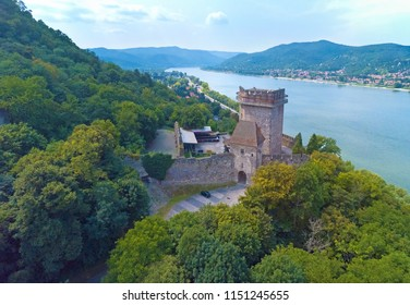 "Beautiful aerial image of the medieval Castle of ""Alsovar Salamon tower"" with the river Danube, at Visegrad, Hungary"