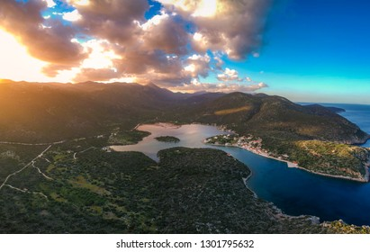 Beautiful aerial landscape at Ierakas, a picturesque fishing village in Laconia, Greece. The village is also known as the Greek natural Fjord due to the geomorphology of the place. Peloponnese, Greece