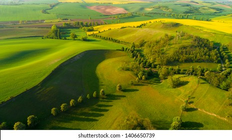 Beautiful aerial landscape in Moravia, Czech Republic. Sunrise over rolling hills in Moravia, aerial drone view.  - Shutterstock ID 1406650739