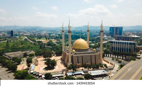 Beautiful Aerial landscape of The National Mosque Abuja City Nigeria