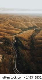 Beautiful aerial landscape on wairinding hill, sumba island, indonesia