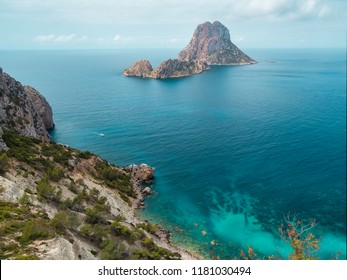 Beautiful aerial landscape in summer, of the Mediterranean sea next to the islets of Es Vedrá on the island of Ibiza, Balearic Islands, Spain
