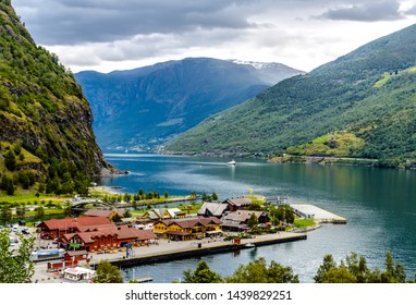 Beautiful aerial landscape view on Aurlandsfjord with a ship, mountains in Flam, Scandinavia, Norway