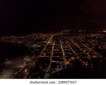 Beautiful aerial night view of Limon down town in Costa Rica