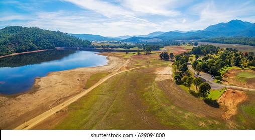 Beautiful aerial panorama of Lake Buffalo and surrounding hills. Victoria, Australia