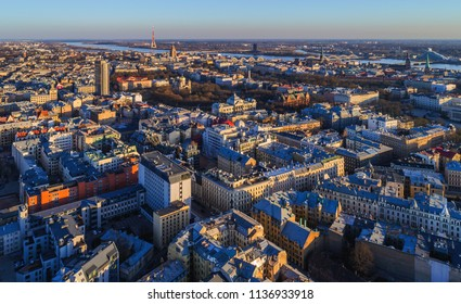 Beautiful aerial panorama view over Riga city at sunset