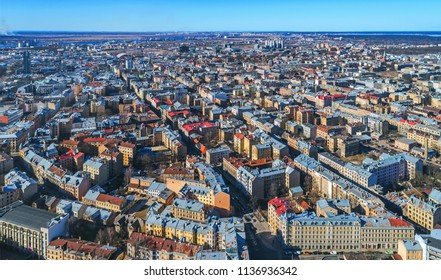 Beautiful aerial panorama view over Riga centre, drone photography