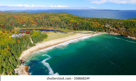 Beautiful aerial panoramic view of Acadia National Park in Maine.