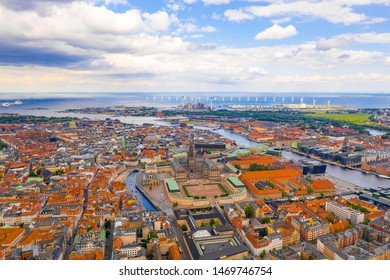 Beautiful aerial panoramic view of the Copenhagen city in Denmark.