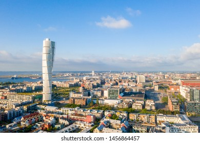Beautiful aerial panoramic view of the Malmo city in Sweden.