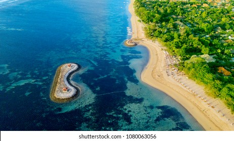Beautiful aerial scenery of Sanur beach with turquoise water in Bali, Indonesia