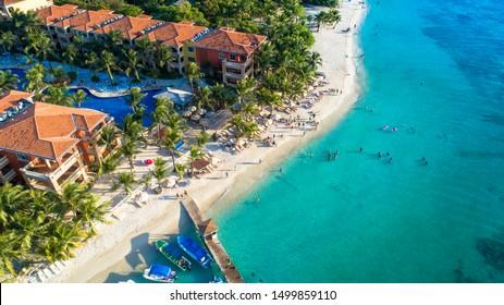Beautiful Aerial Shot Beach Resort in Roatan Bay Islands Honduras