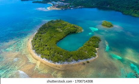 Beautiful Aerial Shot Beach in Roatan Bay Islands Honduras