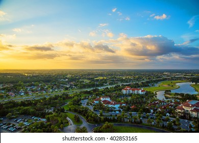 Beautiful aerial sunset view of the Orlando city in Florida