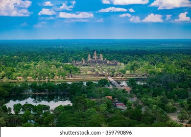 Beautiful aerial view of Angkor Wat Temple, Cambodia, Southeast Asia