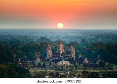 Beautiful aerial view of Angkor Wat at sunrise, Siem Reap, Cambodia
