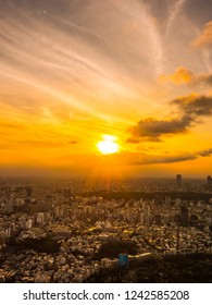 Beautiful Aerial view of architecture and building around tokyo city at sunset time in japan