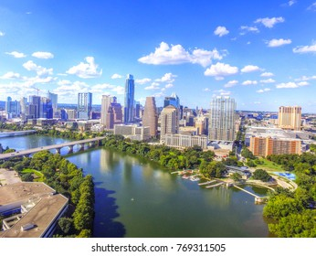 Beautiful Aerial View of Austin Texas on a Sunny Afternoon with Clouds over Skyline Cityscape