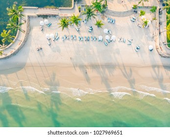 Beautiful aerial view of beach and sea