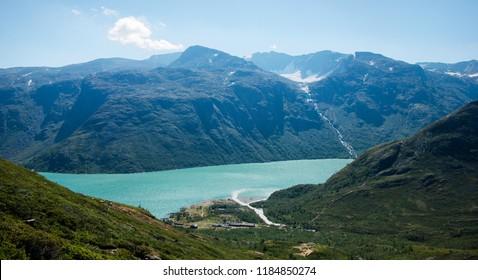 beautiful aerial view of Besseggen ridge over Gjende lake in Jotunheimen National Park, Norway
