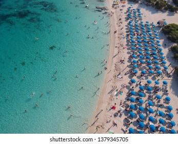 Beautiful aerial view of the best beaches in Cyprus, Nissi beach, Pantachou beach and Landa beach