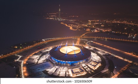 Beautiful aerial view from the bird's eye view of the Gulf of Finland, Saint-Petersburg, Russia, with a stadium, western rapid diameter and cable-stayed bridge, view from quadrocopter drone flight