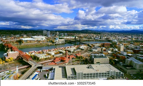 Beautiful aerial view of Broadway bridge and steel bridge over the willamette river in the pearl district of Portland Oregon