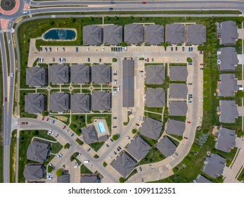 Beautiful aerial view of the Chicago suburb residential