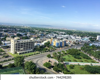 Beautiful aerial view of the city of Kingston and Emancipation Park