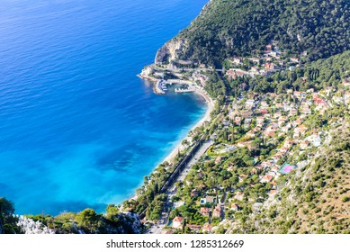 Beautiful aerial view of the coastline with blue water, Eze town, Cote d'azur, France