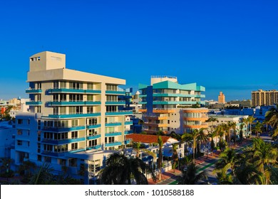 A beautiful aerial view down Ocean Drive in Miami Beach, Florida in the South Beach art deco district on a sunny day