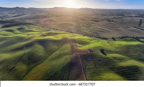 beautiful aerial view from drone. field with sunset sky nature landscape background.