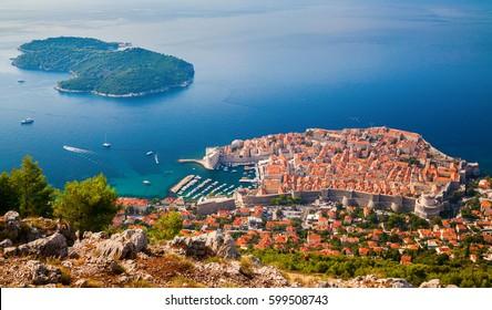 beautiful aerial view of Dubrovnik medieval Old town and Lokrum island, South Dalmatia, Croatia